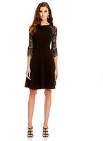 London Times Lace Sleeve Fit-and-Flare Dress