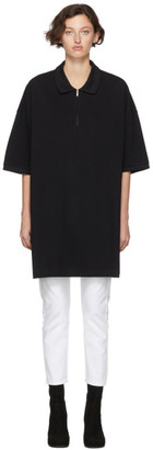 Random Identities Black Oversized Cut-Out Polo