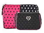 Betsey Johnson Spot 2 Piece Cosmetic Case Set - Fushia/Black