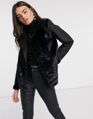 AX Paris fur panelled biker jacket in black