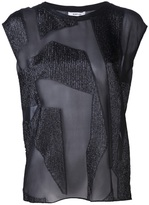 Helmut Lang textured panel sheer t-shirt