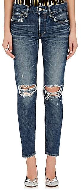 Moussy VINTAGE Women's Latrobe Distressed Tapered Jeans - Md. Blue