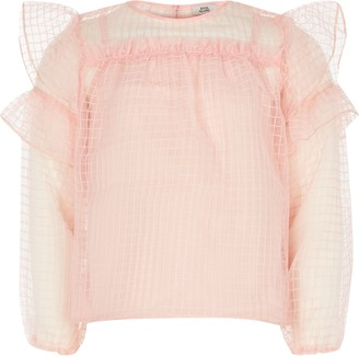 River Island Girls Pink grid organza frill top