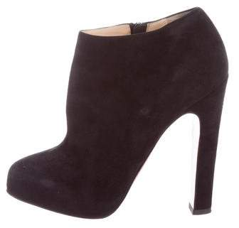 Christian Louboutin Suede Round-Toe Ankle Boots