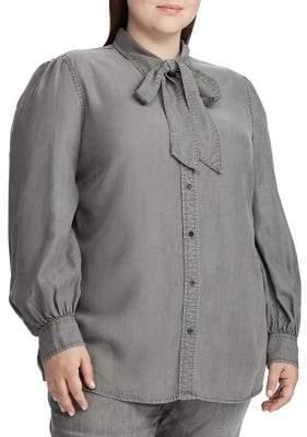 Lauren Ralph Lauren Plus Necktie Buttoned Denim Blouse