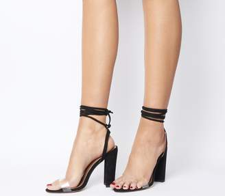 Office Highjack Ankle Tie Block Heels Black