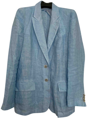 120% Lino Blue Linen Jacket for Women