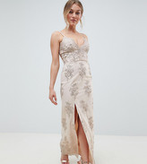 Chi Chi London Petite Scalloped Plunge Maxi Prom Dress with Gold Embroidery