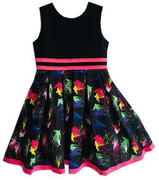 Joe Ella Artist Splash Print Stretch Bodice Dress (Little Girls & Big Girls)