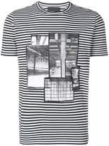 Diesel Black Gold stripe patchwork T-shirt