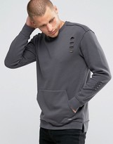 Jack and Jones Sweatshirt with Front Pocket in Distressed Jersey