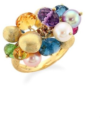 Marco Bicego Africa 6-6.5mm Pearl, Mixed-Stones & 18K Yellow Cluster Ring