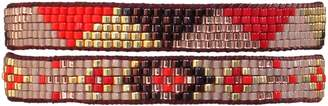 LeJu London Beaded Set Of Two Bracelets In Pink Poppy Red & Gold Tones