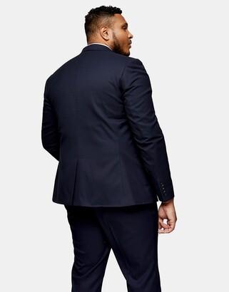 Topman Big & Tall skinny single breasted suit jacket in navy