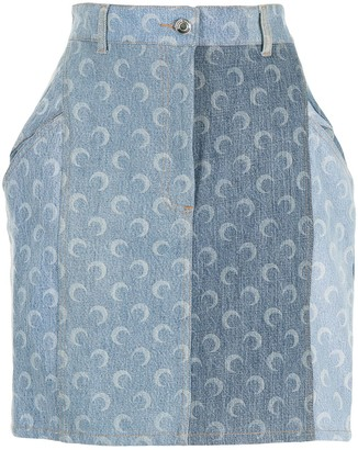 Marine Serre Moon-Print Denim Skirt