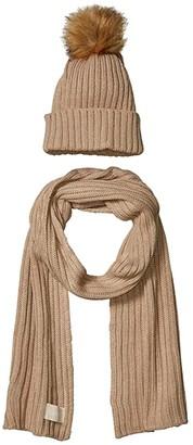 Calvin Klein Two-Piece Faux Fur Pom Set (Heathered Almond) Beanies