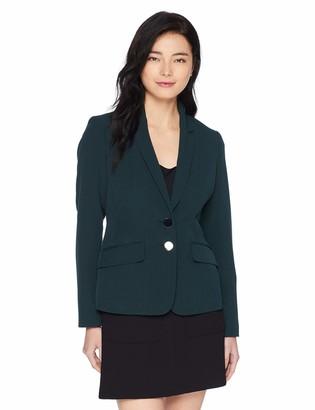 Kasper Women's Petite 2 Button Notch Collar Stretch Crepe Jacket