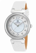 Cabochon Women's 'Saga' Quartz Stainless Steel and White Leather Casual Watch (Model 16561-02-WHS)
