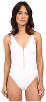 Lauren Ralph Lauren Beach Club Solids Over the Shoulder Mio w/ Center Front Zip & Binding & Removable Cup