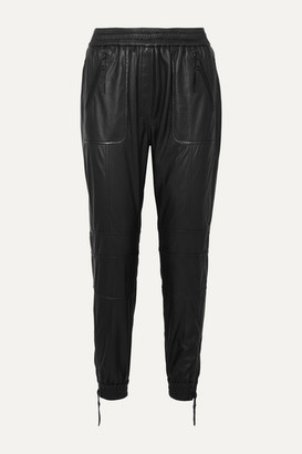 MUNTHE Tapered Leather Track Pants - Black