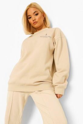 boohoo Petite Ye Saint West Pocket Print Sweatshirt
