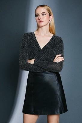 Karen Millen Stud Glitter Wrap Jersey Top