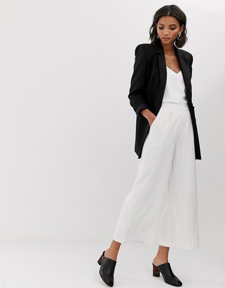 Y.A.S Liva pinstripe wide leg two-piece pants-White
