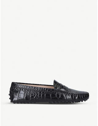 Tod's Tods Mocassino croc-embossed leather driving shoes