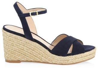 Stuart Weitzman Rosemarie Leather Platform Espadrille Wedge Sandals