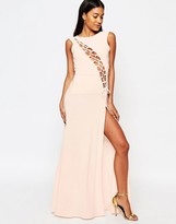 Boohoo Lace Up Thigh Split Maxi Dress