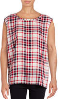 Two By Vince Camuto Sleeveless Split Back Check Top