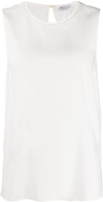 Brunello Cucinelli Sleeveless Flared Blouse