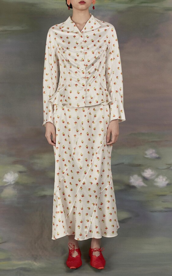 Thumbnail for your product : yuhan wang Women's Rose-Printed Georgette Skirt - White - Moda Operandi