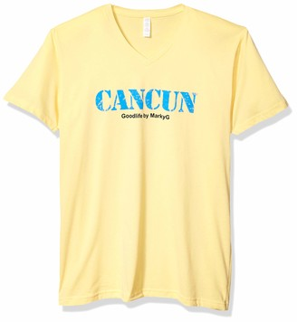 Marky G Apparel Men's Cancun Graphic Sueded V-Neck T-Shirt