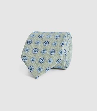 Reiss Harrison - Cotton Linen Blend Tie in Sage
