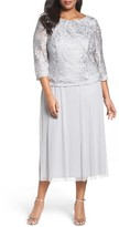 Alex Evenings Plus Size Women's Draped Back Mock Two-Piece Dress