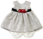 Jayne Copeland Baby Girls 12-24 Months Metallic-Striped-Overlay Taffeta Dress