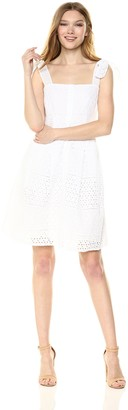Rachel Roy Women's Cotton Eyelet Button Front Fit and Flare Dress