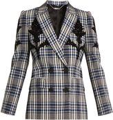 Alexander McQueen Embellished checked wool jacket
