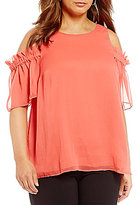 Gibson & Latimer Plus Solid Cold Shoulder Blouse