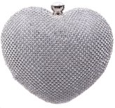 Ainemay Heart Shape Diamond Ladies Trendy Evening Cluthes Ladies Handbags Wedding Clutches Bridal Purses