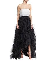 Oscar de la Renta Two-Tone Strapless Organza Ball Gown, White/Black