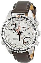 Timex Men's T46866 Intelligent Quartz Fly Back Chrono Compass Silver Case Brown Strap Watch