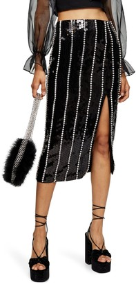 Topshop SEQUIN DIAMANTE STRIPE SKIRT