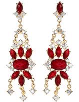 Amrita Singh Red Austrian Crystal Mist Island Drop Earrings