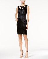 Jax Crisscross Shimmer Lace Sheath Dress