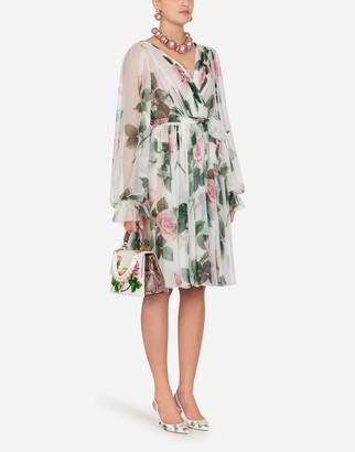 Dolce & Gabbana Chiffon Crossed Midi Dress In Tropical Rose Print