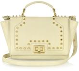 Leonardo Delfuoco Studded Beige Leather iPad Bag