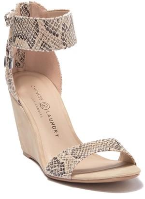 Chinese Laundry Camomile Snakeskin Embossed Wedge Heel Sandal