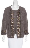 Rena Lange Wool Embellished Cardigan Set